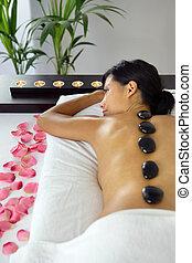 rilassante, pietra calda, massaggio