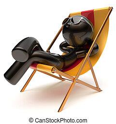 rilassante, ponte, spensierato, scottatura, uomo, sedia...