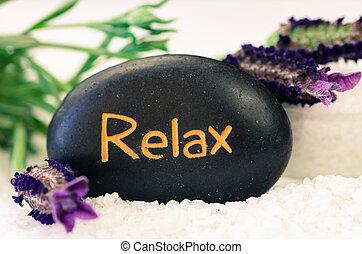 rilassare, lava, pietra, e, fiore lavanda