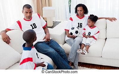 rilassato, afro-american, famiglia