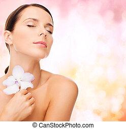 rilassato, donna, fiore, orchidea