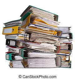 rilegatore, documenti, file, mucchi