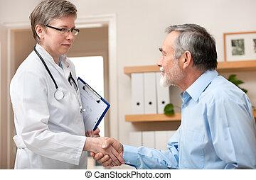 rillend, arts, patiënt, handen