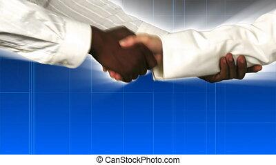 rillend, zakenlieden, hand