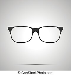 Rim glasses icon, simple black silhouette