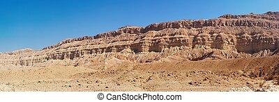 Rim wall of the Small Crater (Makhtesh Katan) in Israel's Negev desert