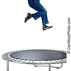 rimbalzare, uomo affari, bianco, trampolino
