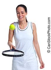 rimbalzo donna, giocatore tennis, palla, racchetta