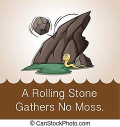 rimbombante, giù, pietra, montagna
