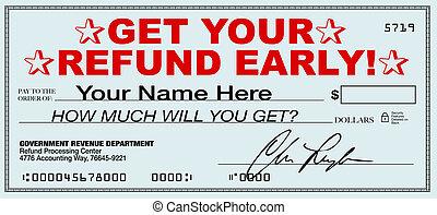 rimborso, ritorno, refunds, ottenere, -, tassa, digiuno, presto, file, ora, tuo