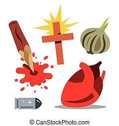 rimedio, vettore, illustration., cartone animato, vampiri
