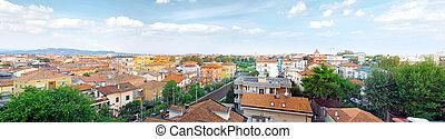 Rimini, bird-eye view- city on Adriatic sea. Italy. Panorama.