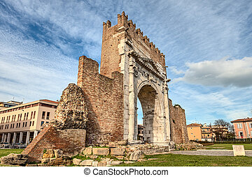 Rimini, Italy - the Arch of Augustus - Arch of Augustus in...