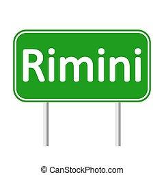 Rimini road sign. - Rimini road sign isolated on white...