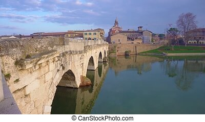 Rimini roman bridge - view of roman bridge in Rimini, Italy