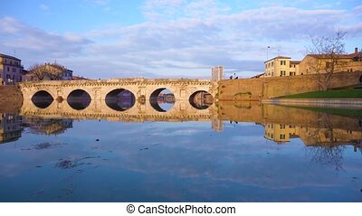 Rimini roman bridge - view of roman bridge reflecting in...