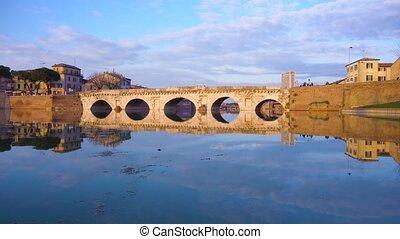 Rimini roman bridge - view of roman bridgereflecting in...