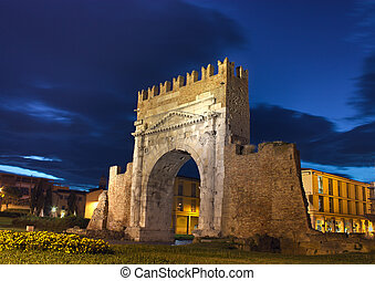 Rimini, the arch of Augustus - night view of Augustus arch...