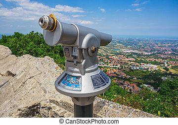 Rimini view from San Marino fortress, Italy