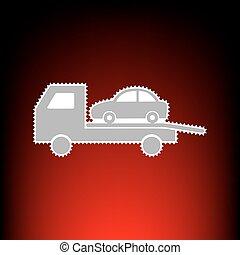rimorchio, automobile, evacuazione, segno., francobollo, o, vecchio, foto, stile, su, red-black, pendenza, fondo.