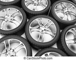 Rims and tires - 3d rendered illustration of some tires