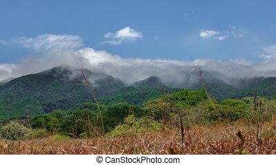 Rincon de la vieja vulcano and clouds time lapse - Panoramic...