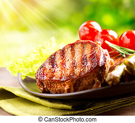 rindfleisch, bbq., gemuese, draußen, steak, grillte fleisch...