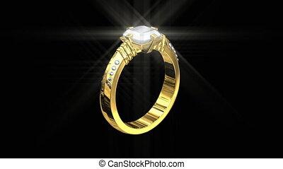 ring, 3d, goud, trouwfeest