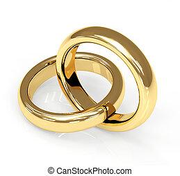 ring, 3d, twee, goud, trouwfeest