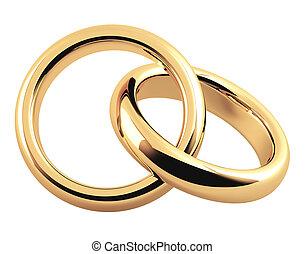 ring, 3d, zwei, gold, wedding