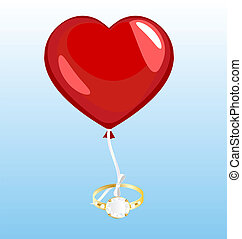 on a blue background flying a balloon in the form of hearts, to which the ribbon is tied a large gold ring