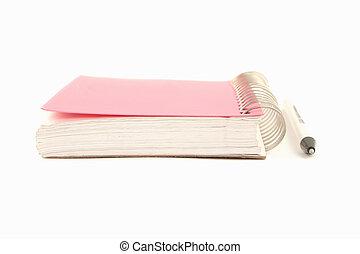 ring binder and pen - pink covered metal ring binder...