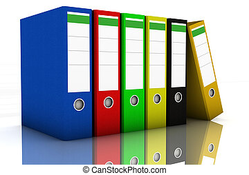Ring Binder - Colorful ring binder in a row on white...