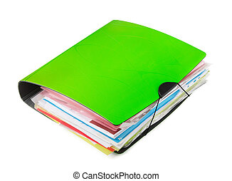 Ring binder - Green ring binder with documents isolated on...