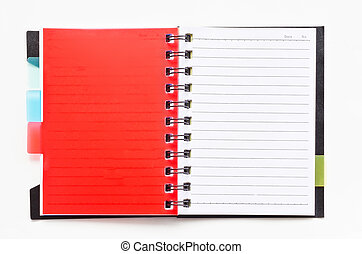 ring binder notebook with red bookmark
