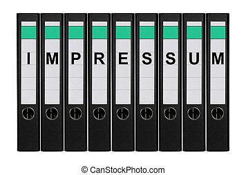 Nine ring binders labeled IMPRESSUM standing side by side.