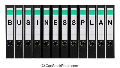 Twelve ring binders labeled BUSINESSPLAN standing side by side.