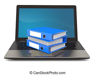Ring binders with laptop