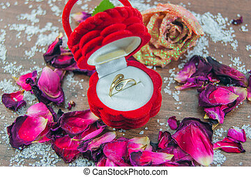 Ring, box, roses, rose petals - focus ring