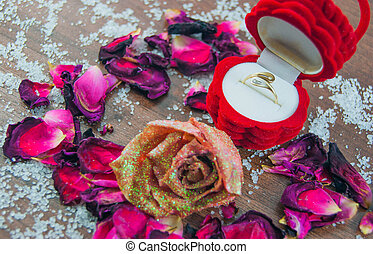 Ring, box, roses, rose petals
