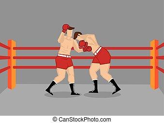 ring, boxen, zwei, kämpfen, boxer