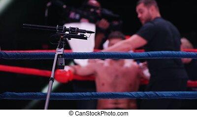 ring., boxeur, repos, obtenir