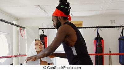 ring, boxing, bokser, masseren, vrouwlijk, 4k, geven,...