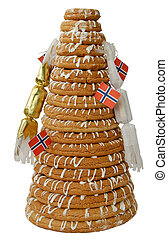 Ring Cake with Crackers - Traditional Norwegian marzipan...