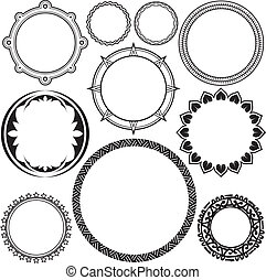 Clip art collection of several circle and ring designs