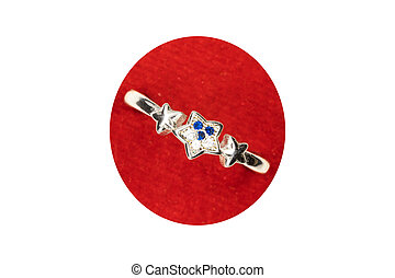 three stars with 3 blue and white stones crystal designer ring Valentine Gift for girls and women