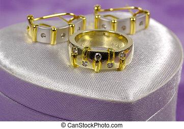ring, diamant, earings