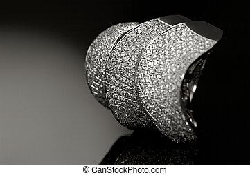 ring, diamant, fokus, differential