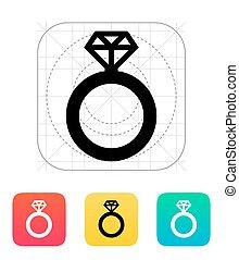 ring, diamant, icon.