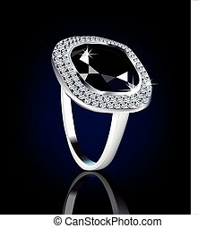ring., diamant, vecteur, illustration